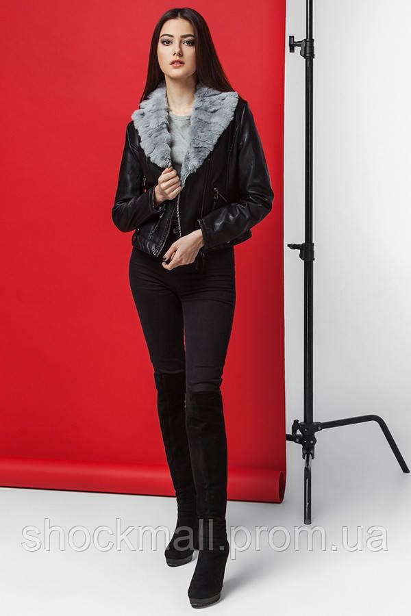 Купить Куртка кожаная женская с натуральным мехом Kiro Tokao 4624M ... 10f05ee7847a7