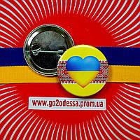 """Значок """"Україна серце на вишивці"""" (43 мм), фото 1"""