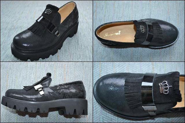 Туфлі на тракторній підошві Masheros 2319 чорні фото