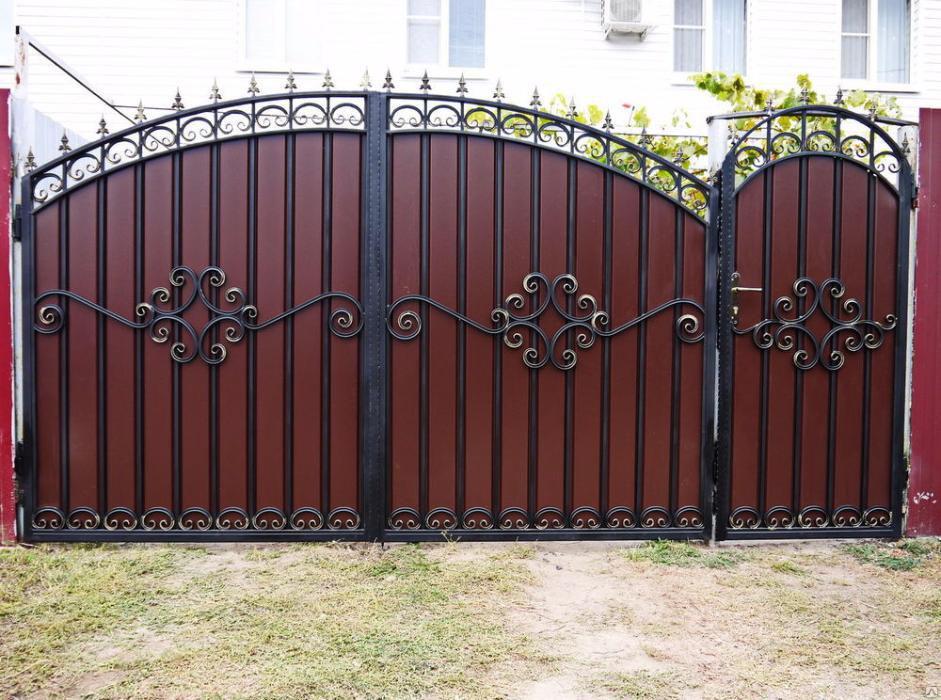 Ворота въездные из профнастила