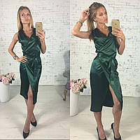 Женское стильное атласное платье