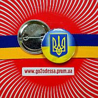 """Значок """"Тризуб на прапорі України"""" (43 мм), фото 1"""