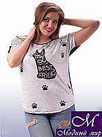 Оригинальная женская футболка с кошкой (ун. 48-54) арт. 8445