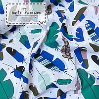 """Лоскуток. Хлопковая ткань """"Перья"""" сине-бирюзовые с рисунками №949   50*160 см."""