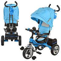 Велосипед M 2732A-2 (1шт) три колеса,резина,колясочный,род.ручка,голубой