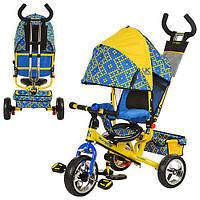 Велосипед LE-3-02UKR (1шт) EVA Foam, три колеса, колясочный,желто-голубой,усил.двойн.ручка,подшипник