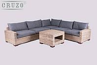 Угловой модульный диван и столик CRUZO Скиф натуральный ротанг ореховый