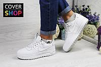 Кроссовки женские Nike Lunar Force LF-1 (низкие) для спорта и туризма, материал - кожа+резина, белые