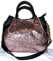 Женская пудровая блестящая сумка Michael Kors 2 в 1 с ремешком на цепочке 27*24 см