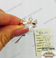 Серебряное кольцо с золотом и цирконом Корона 3