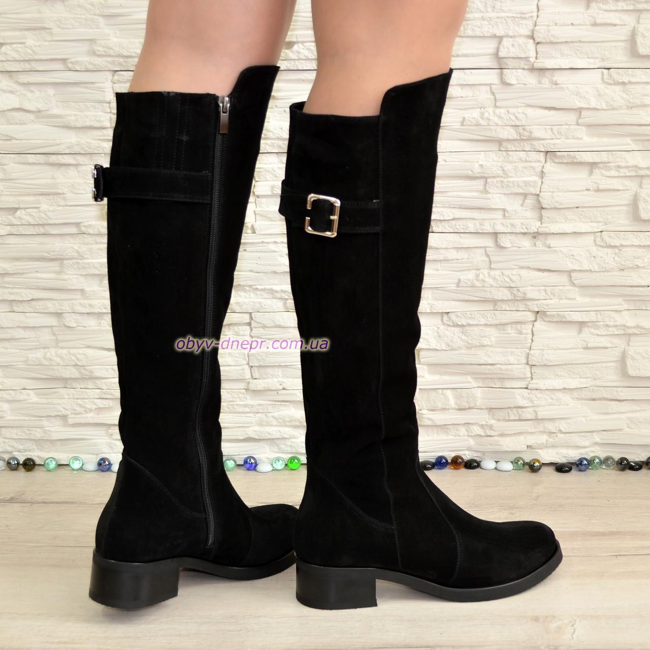 c324c0c8a ... Сапоги черные женские зимние замшевые на невысоком устойчивом каблуке,  ...