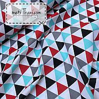 """Польский хлопок """"Большие треугольники"""" красного,серого и черно-бирюзового цвета №946"""