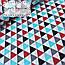 """Польский хлопок """"Треугольники"""" красного,серого и черно-бирюзового цвета №946, фото 4"""