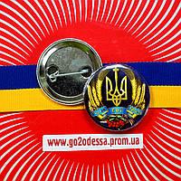 """Значок """"Тризуб з нами Бог і Україна"""" (43 мм), фото 1"""