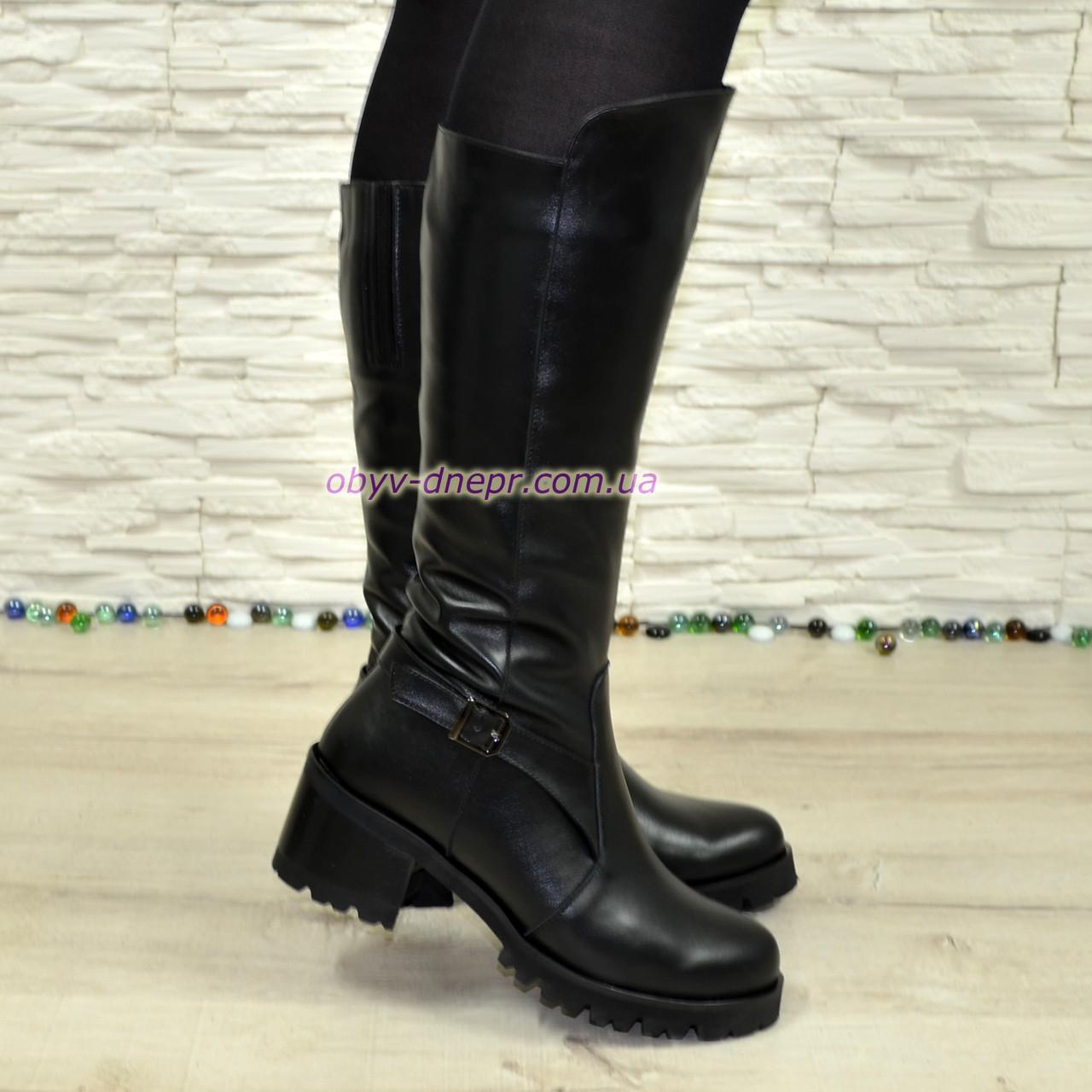 Сапоги кожаные женские зимние на устойчивом каблуке