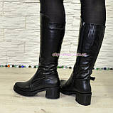 Сапоги кожаные женские зимние на устойчивом каблуке, фото 2
