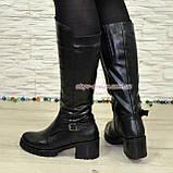 Сапоги кожаные женские зимние на устойчивом каблуке, фото 3