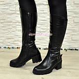 Сапоги кожаные женские зимние на устойчивом каблуке, фото 4