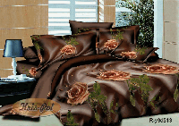 """Комплект постельного белья семейный, ранфорс  3D """"Шоколадный шелк"""""""