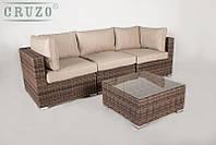 Модульный диван тройка + столик CRUZO Раунд искусственный ротанг коричневый