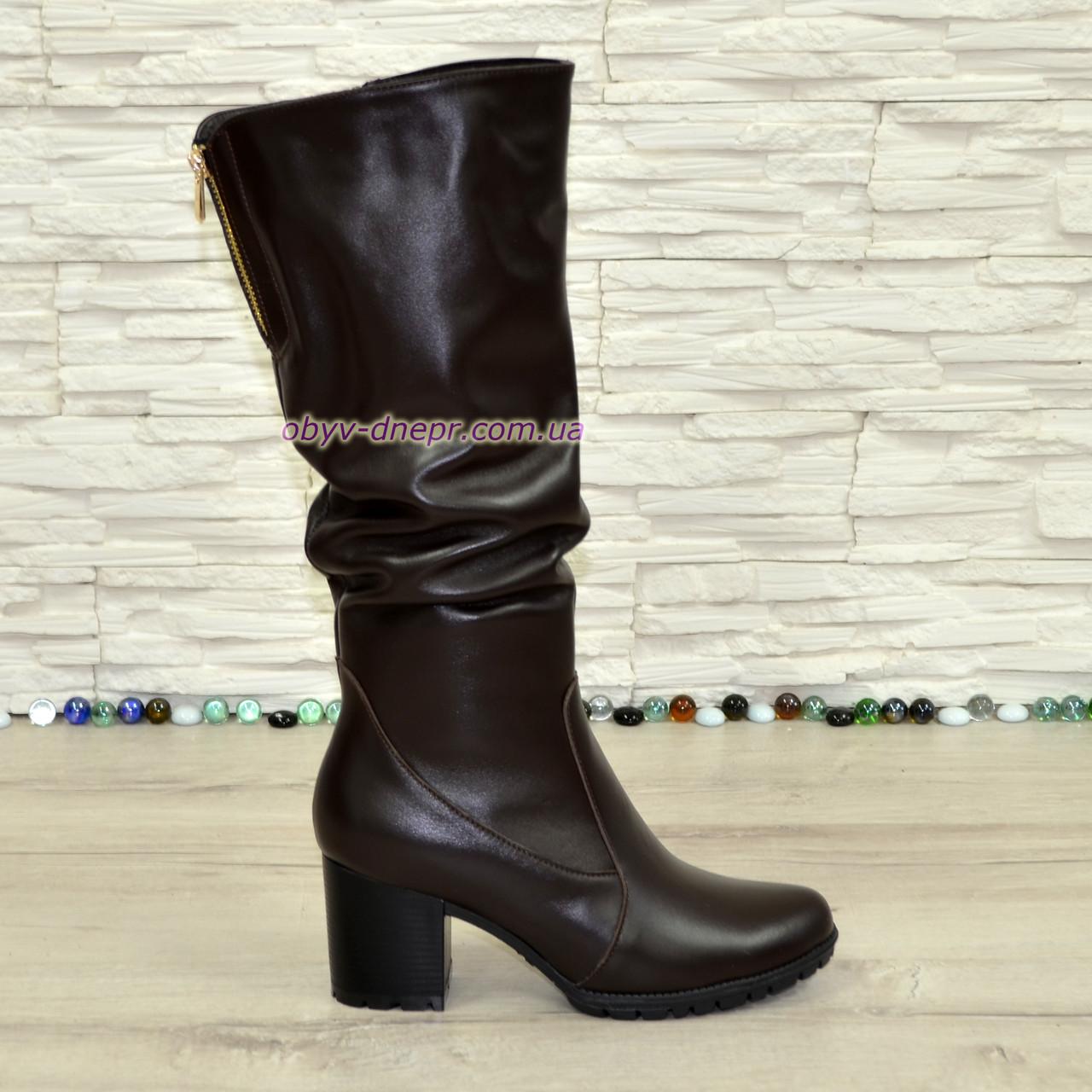 Сапоги женские зимние коричневые кожаные на устойчивом каблуке