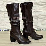 Сапоги женские зимние коричневые кожаные на устойчивом каблуке, фото 2