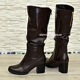 Сапоги женские зимние коричневые кожаные на устойчивом каблуке, фото 3