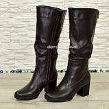 Сапоги женские зимние коричневые кожаные на устойчивом каблуке, фото 4