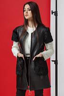 Жилет женский кожзам с меховыми карманами Kiro Tokao 4774L