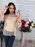Блуза прозрачная шифон с нижней юбкой и бусинами