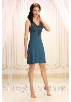 Ночная рубашка вискозная, бретели с регулятором, р. S, M, L (42, 44, 46), цвет синий топаз