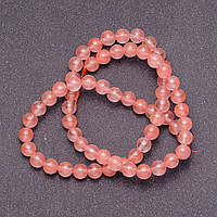 Бусины из натурального камня Халцедон розовый  на леске гладкий  шарик d-6мм L-38см