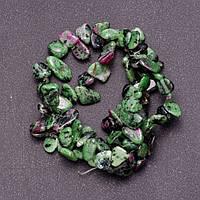 Бусины из натурального камня Цоизит  на леске  бабочка d-8-12мм L-38см