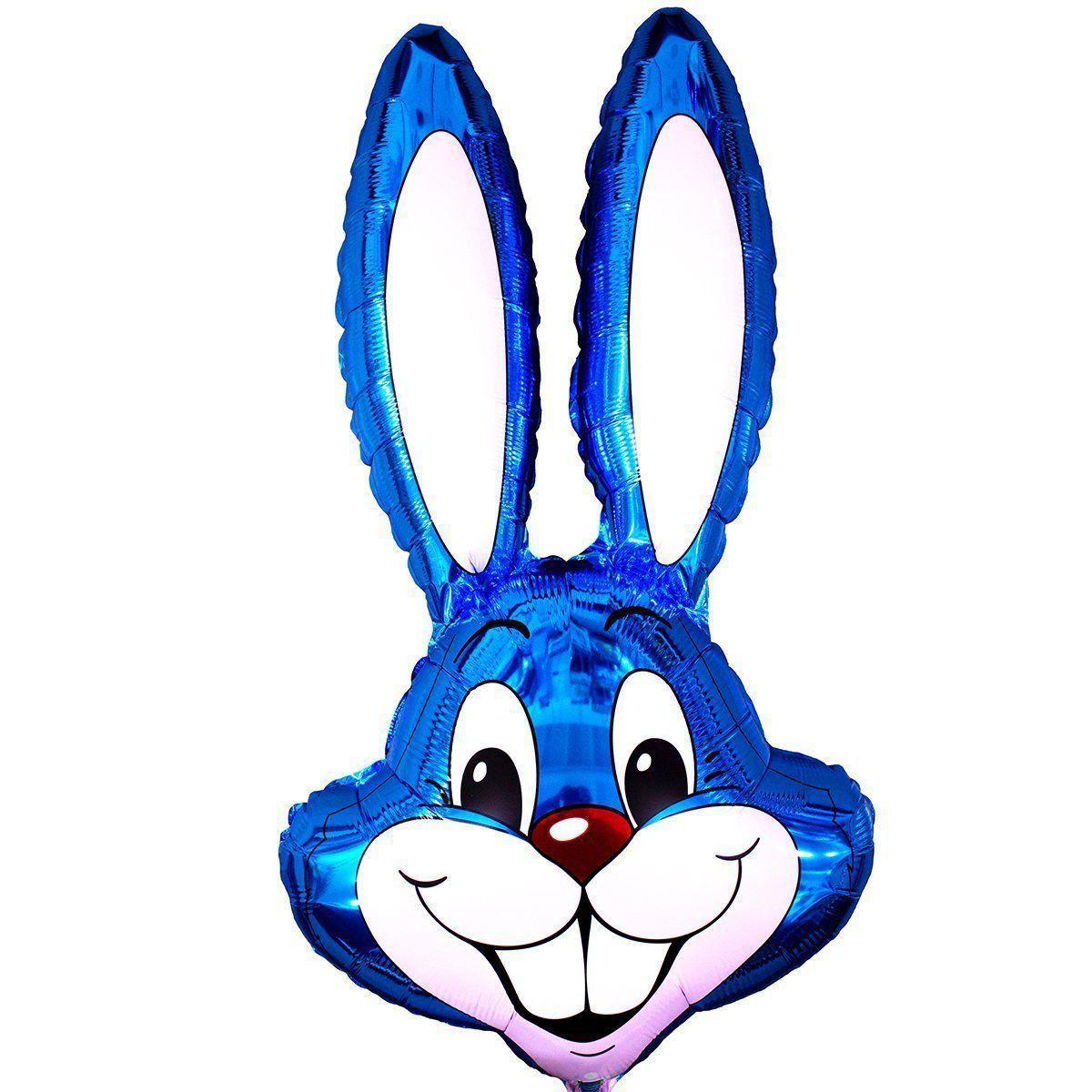 Фольгированные шары большие фигуры  фигура  кролик синий 95 см FlexMetal