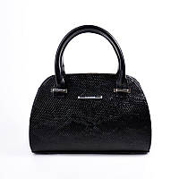 Модная женская сумка под кожу питона черного цвета