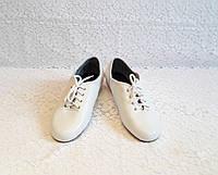 Джазовки кожаные белые с резинкой