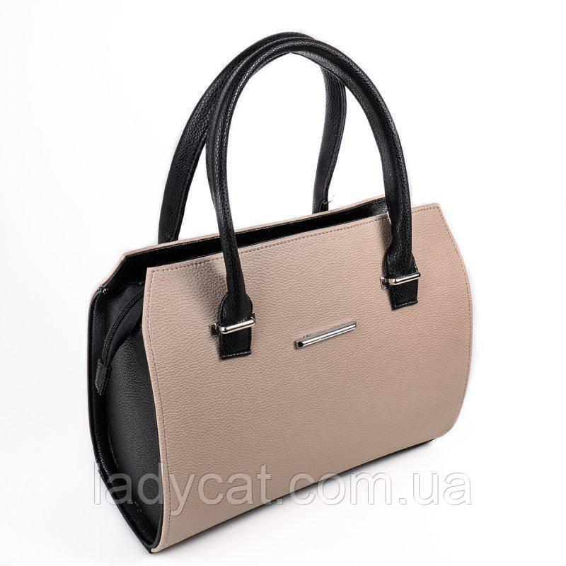 72cb4f911178 Женская сумка бежевого цвета из кожзама -