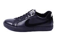 Мужские кожаные кеды Nike Black leather, фото 1