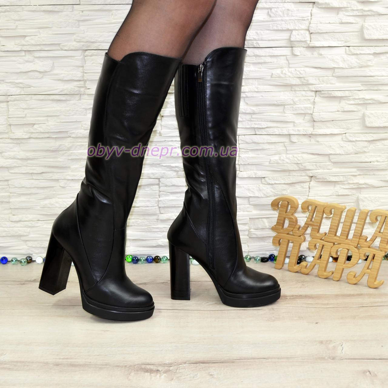 b31b761a4eb6 Женские зимние кожаные сапоги на высоком каблуке.