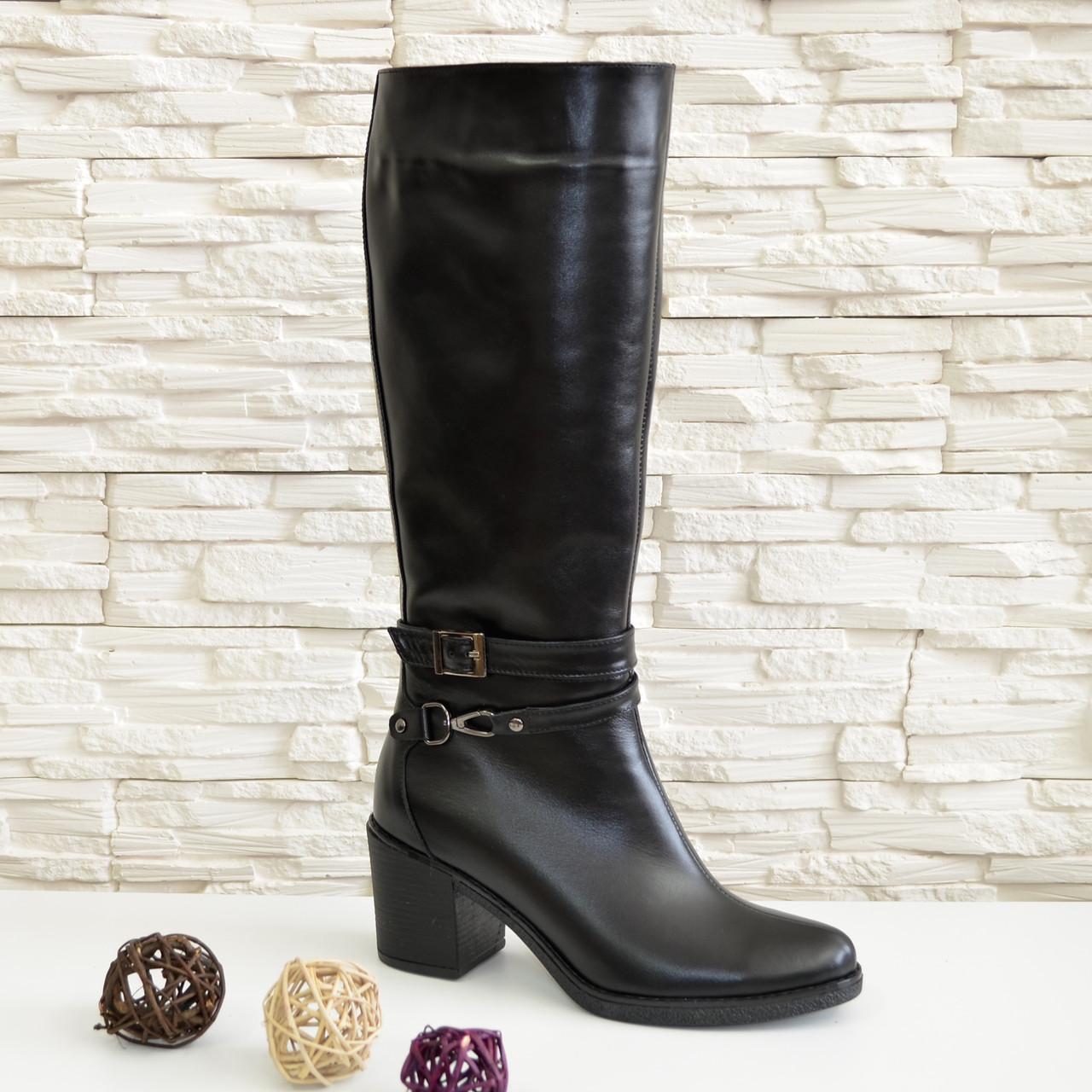 e6be8ec4b Женские зимние черные кожаные сапоги на устойчивом каблуке, 37 размер