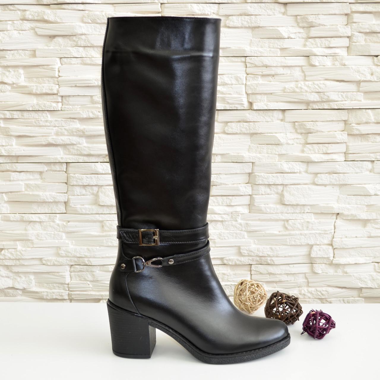 42acd1993 Женские зимние черные кожаные сапоги на устойчивом каблуке, 37 размер, ...