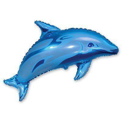 Фольгированные шары большие фигуры  фигура Дельфин голубой 93*73 см FlexMetal