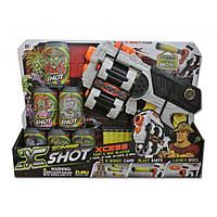 Бластер Ураган Зомби, два вида оружия 6 банок, 8 дисков,12 дартс. Zuru X-Shot (01164Z)