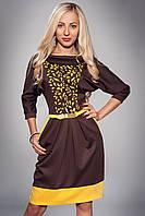 Платье женское мод 441-1 ,размер 52 т.коричневое
