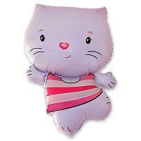 Фольгированные шары большие фигуры  фигура Котенок розовый 55х75 см FlexMetal