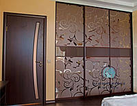 Двери в Шкаф-купе.Фасады с наполнением зеркало пескоструй, фото 1