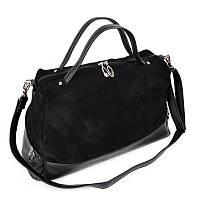 Модная женская замшевая сумка черного цвета