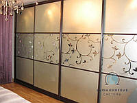 Двери в Шкаф-купе. Фасады с наполнением зеркало пескоструй под заказ, фото 1