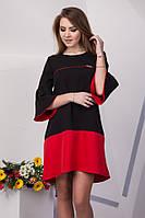 Комбинированное свободное женское платье: черный/красный