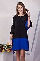 Красивое женское комбинированное платье: черный/электрик